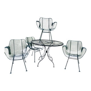 Sculptura Wrought Iron Patio Set - 5 Pieces For Sale