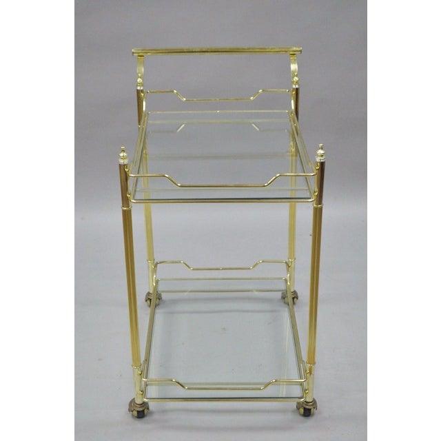Mid Century Modern Brass Plated Metal & Glass Gold Rolling Bar Tea Cart - Image 10 of 11