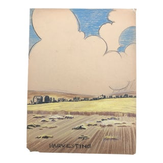 1940s Harvesting Scene Evelyn Underwood Drawing For Sale