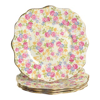 Royal Stafford June Roses Chintz Square Luncheon Plate Set/4 For Sale