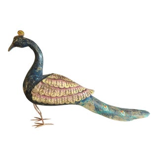 1950s Folk Art Carved Wood Hand Painted Peacock Sculpture For Sale