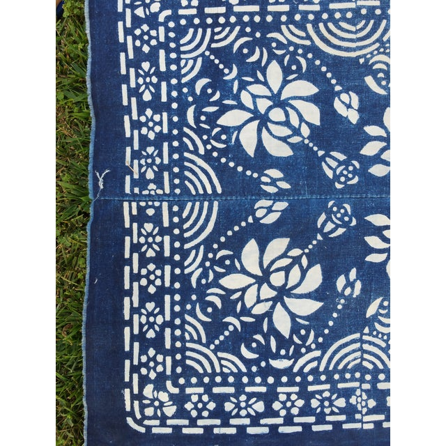 Primitive 1920's Hand Batik Indigo Table Runner For Sale - Image 3 of 5