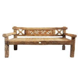 Old Wood Carved Back Daybed