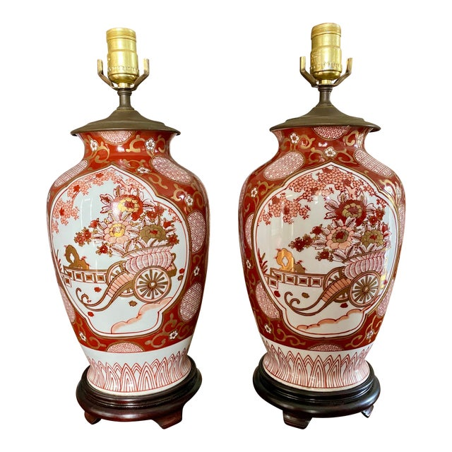 Vintage Gold Imari Red and Gold Lamps - a Pair For Sale