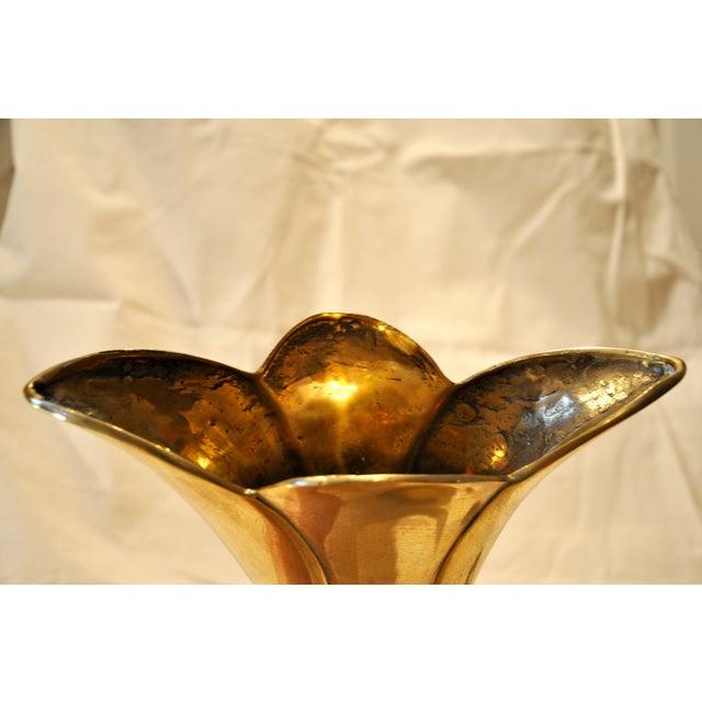 Vintage Large Brass Tulip Vase - Image 7 of 9