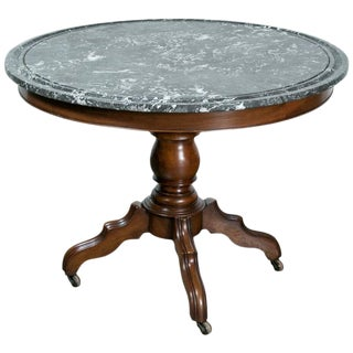 19th Century French Louis Philippe Period Marble Top Gueridon Table For Sale