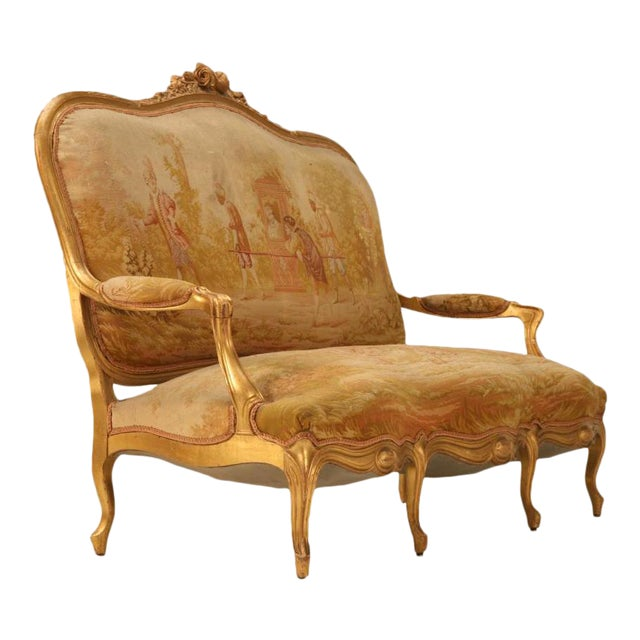 Antique French Gilded Louis XV Style Settee - Image 1 of 10