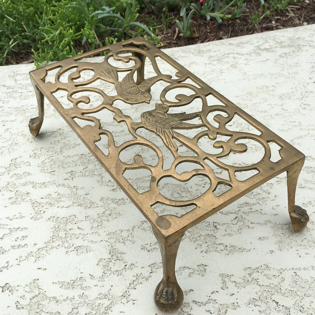 Mid-Century Solid Brass Bird Motif Plant Stand - Image 6 of 11
