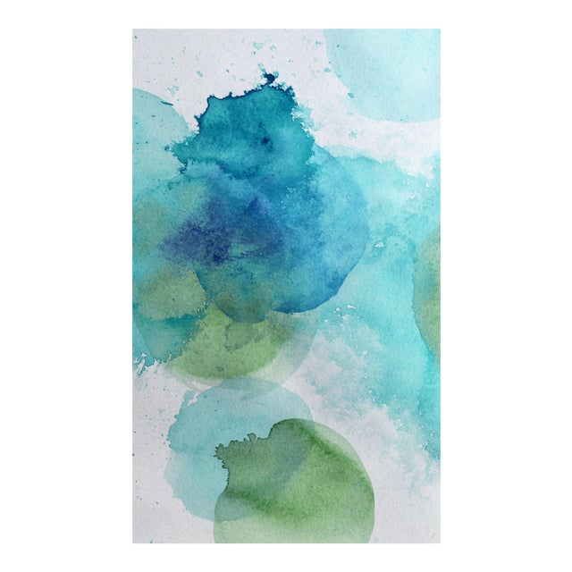 Abstract Watercolor Print Poster of Blues and Greens For Sale