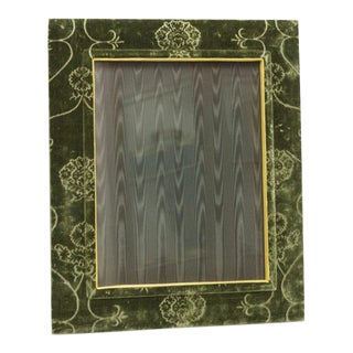 Picture Frame in Green Cut Velvet With Gold Liner For Sale
