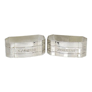 Mid-Century French Monsieur Napkin Rings - a Pair For Sale