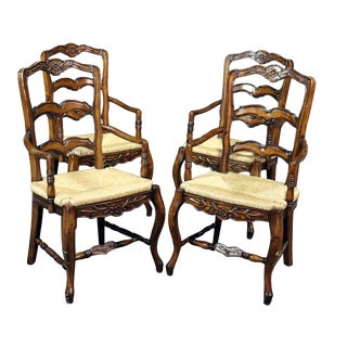 Vintage Mid Century Country French Style Ladderback Armchairs- Set of 4 For Sale