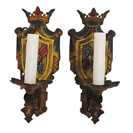 Crest Wall Sconces - Pair - Image 1 of 4