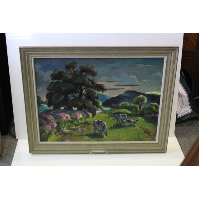 """""""Eventide"""" oil painting in frame by the artist Frederick Buchholz."""