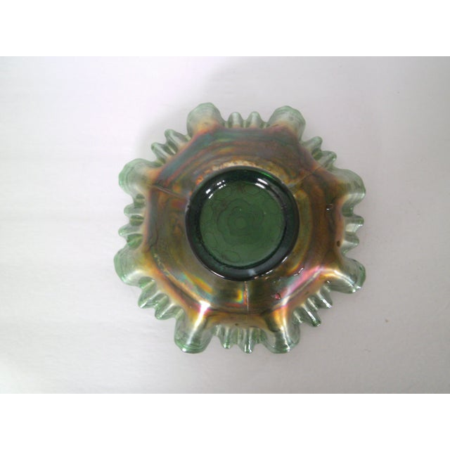 Emerald Green Rose Carnival Glass Bowl - Image 5 of 7