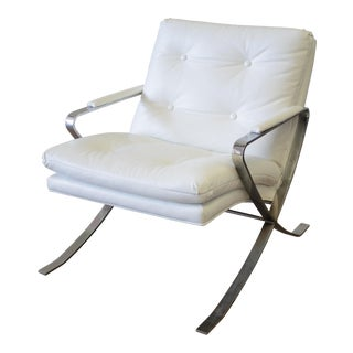 Mid-Century Modern Leather and Chrome Lounge Chair