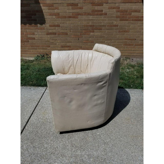 John Saladino for Baker Leather Swivel Lounge Chair For Sale - Image 5 of 11