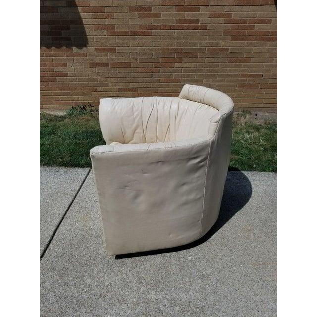 John Saladino for Baker Leather Swivel Lounge Chair - Image 5 of 11