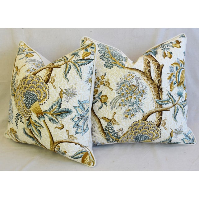 """French Jacobean Floral Cotton & Linen Feather/Down Pillows 24"""" Square - Pair For Sale - Image 10 of 13"""