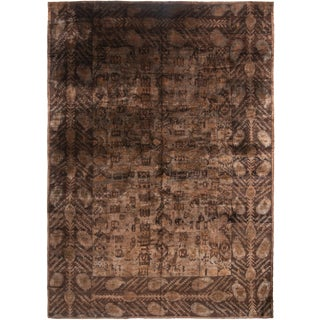 Brown and Black Wool Rug - 10′ × 14′ For Sale