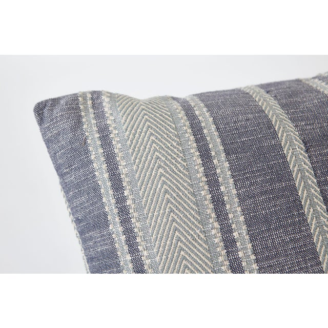 Contemporary Schumacher Zina Stripe Blue Square Pillow 26x26 - Pair For Sale - Image 3 of 7