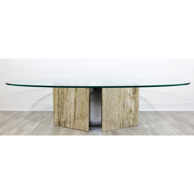 Italian Mid-Century Modern Italian Marble Chrome Glass Surfboard Coffee Table, 1970s For Sale - Image 3 of 9