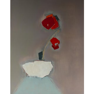 """Bill Tansey """"Red Flowering Plant'' Abstract Floral Oil Painting on Canvas For Sale"""
