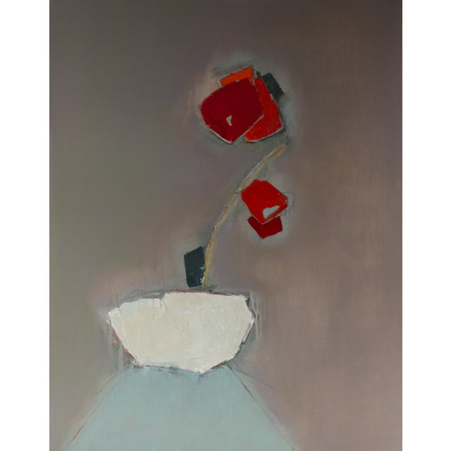 "Bill Tansey ""Red Flowering Plant'' Abstract Floral Oil Painting on Canvas For Sale"