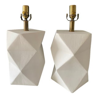 Liz Marsh Origami Carved Plaster Lamps - a Pair For Sale