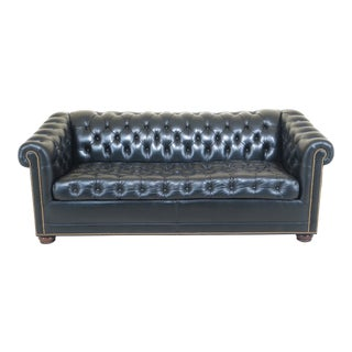 21st Century English Style Chesterfield Black Leather Sleeper Sofa For Sale