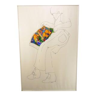 "Original Signed Weyman Lew ""Tweedle Dee & Dum"" Ink and Watercolor Painting For Sale"