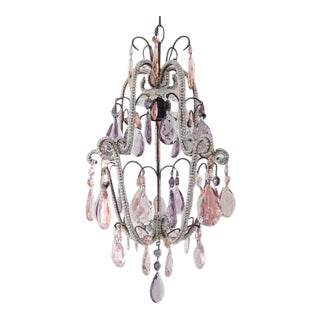 Beaded Pink and Purple Crystal Prisms Chandelier For Sale