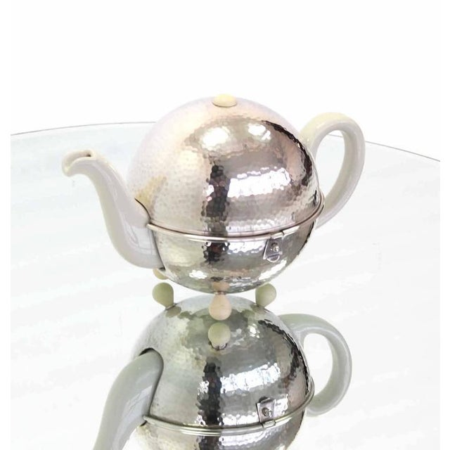 WMF Porcelain Tea Pot in Hammered Metal Insulated Cover For Sale - Image 6 of 10