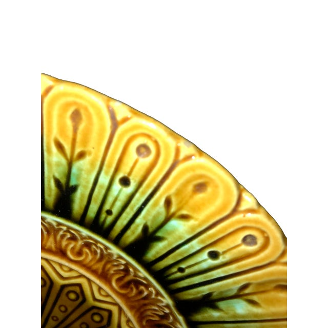 French French Majolica Flower Plate For Sale - Image 3 of 5