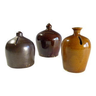 Antique Stoneware Dome Banks - Set of 3 For Sale