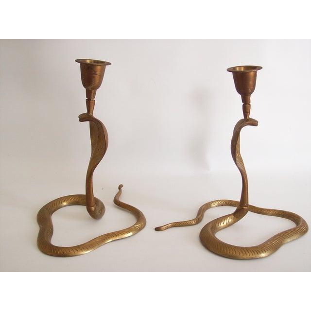 Vintage Brass Cobra Snake Candlesticks - A Pair - Image 7 of 9