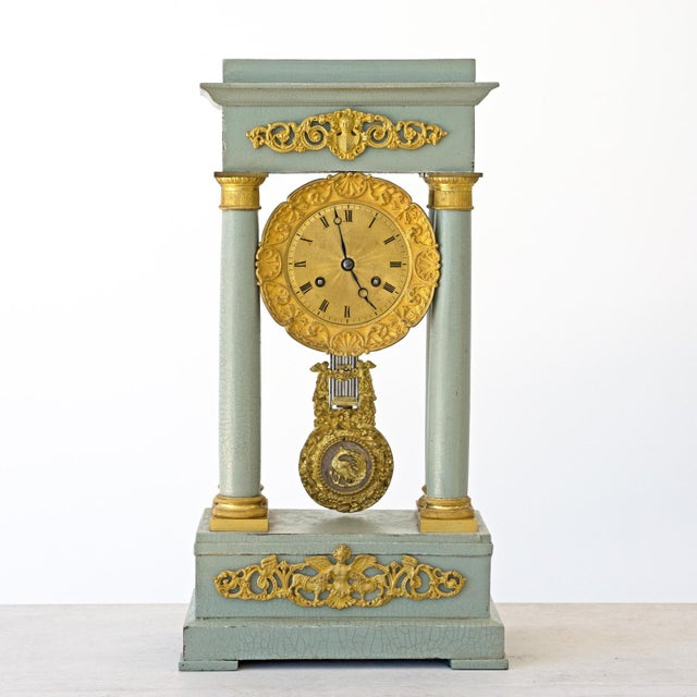 Gold Mid 19th Century French Empire Portico Gridiron Mantle Clock For Sale - Image 8 of 8