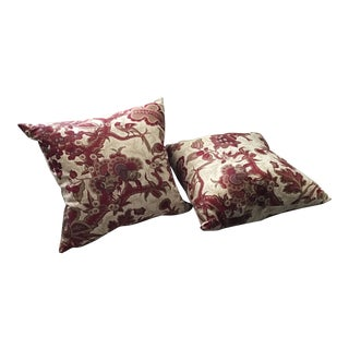 Red Floral Pillows - a Pair For Sale