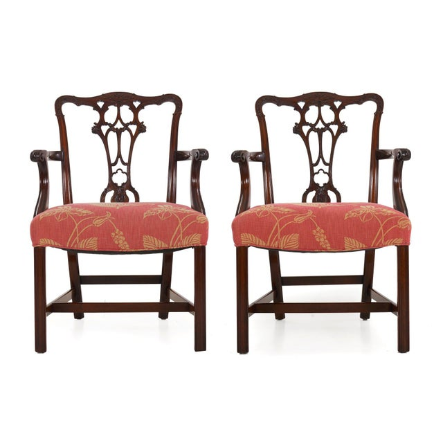 GEORGE III STYLE CARVED MAHOGANY SET OF SIX DINING CHAIRS Circa first half of the 20th century Item # 009ZMO18Q A very...