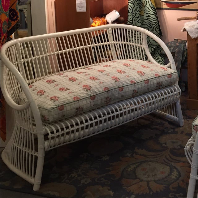 White Rattan Love Seats - A Pair - Image 8 of 8
