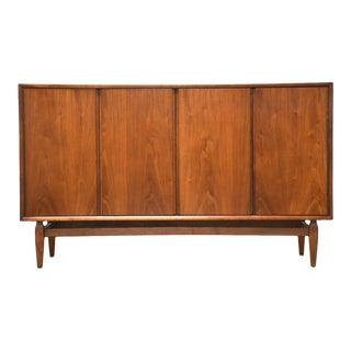 Walnut Mid Century Credenza Dresser For Sale