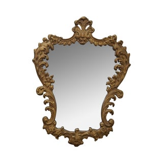 Vintage Gilt Wood Rococo Hanging Wall Mirror For Sale