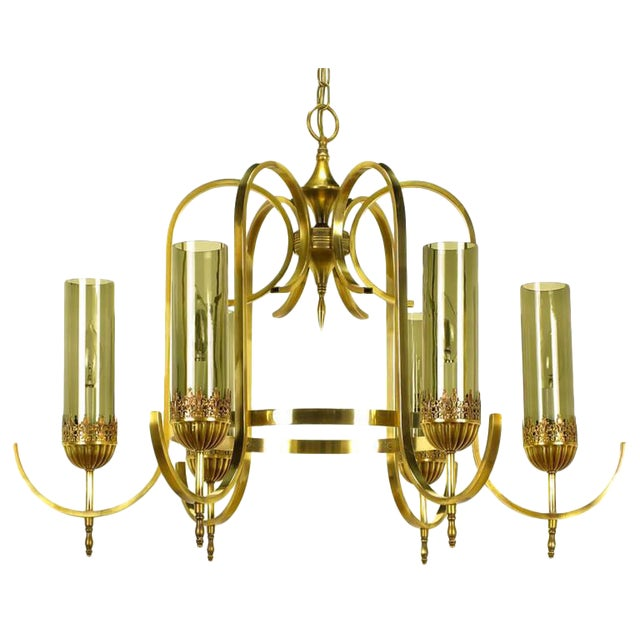 Brass Undulate Arm Six-Light Chandelier with Smoked Hurricane Shades For Sale