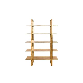 Mid 20th Century Bamboo and Brass Bookshelf For Sale