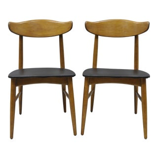 Mid-Century Modern Walnut Baumritter Curved Back Dining Chairs- 2 Pc.