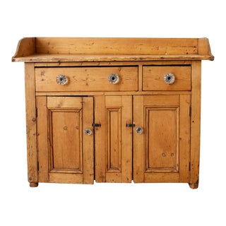 Rustic French Farmhouse Pine Washstand Cabinet For Sale