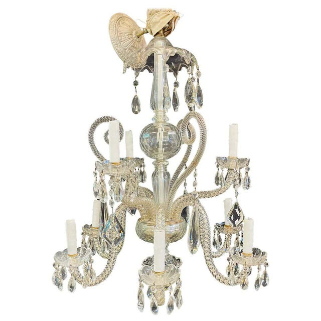 Fine Cut Crystal Venetian Style Chandelier For Sale - Image 13 of 13