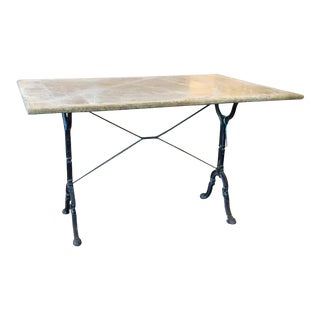 Large Antique French Iron Bistro and Garden Table With Marble Top For Sale