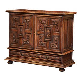 19th Century Italian Carved Walnut Two-Door Buffet Cabinet With Bottom Drawer For Sale