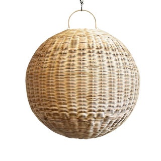Raw Rattan Globe Lantern Medium For Sale